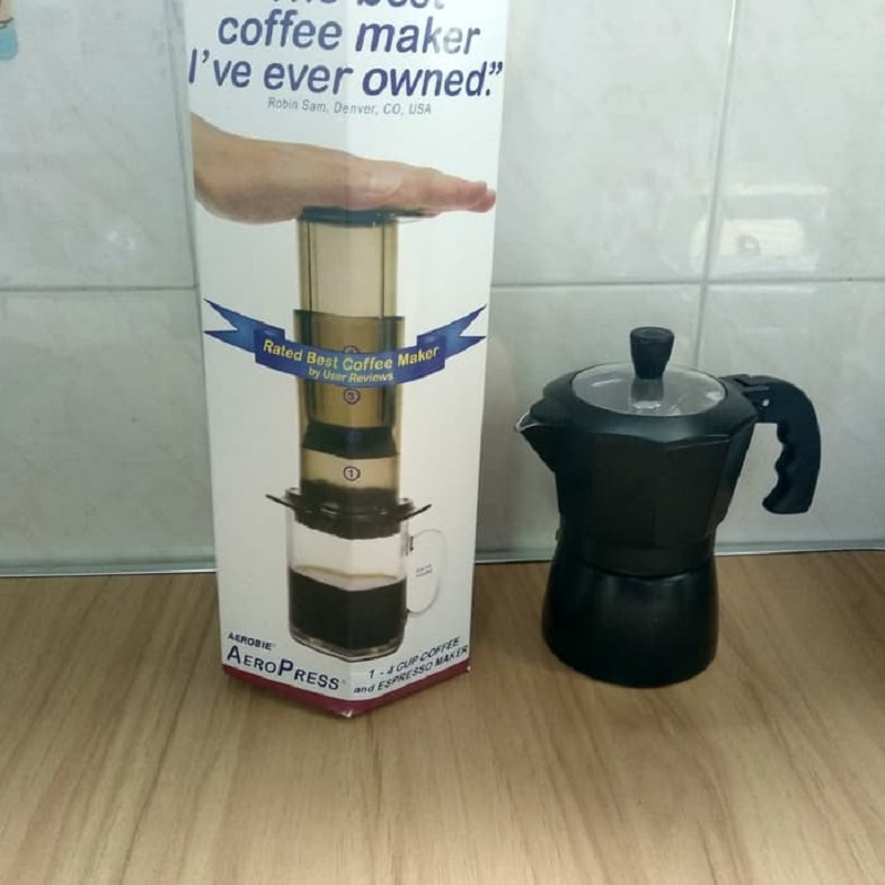 Paket aeropress coffee maker dan Mokapot 3 cup