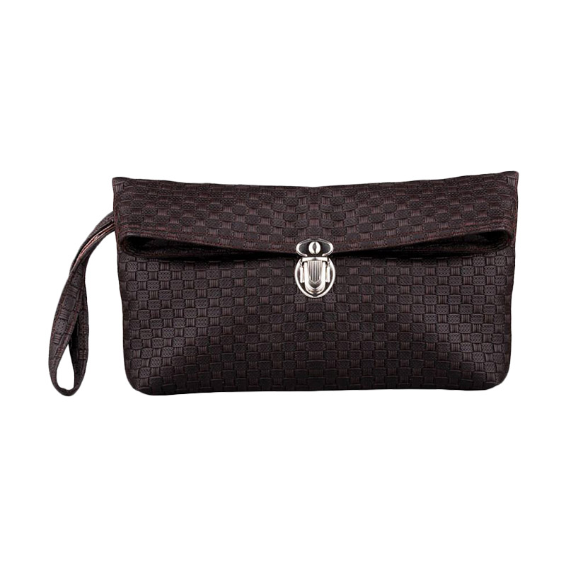 Quinta Clutch Anyam Dompet Wanita  Dark Brown