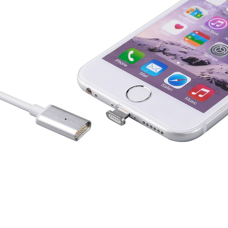 2 in 1 Kabel Charger Magnetic Micro USB & Lightning for Smartphone - Silver