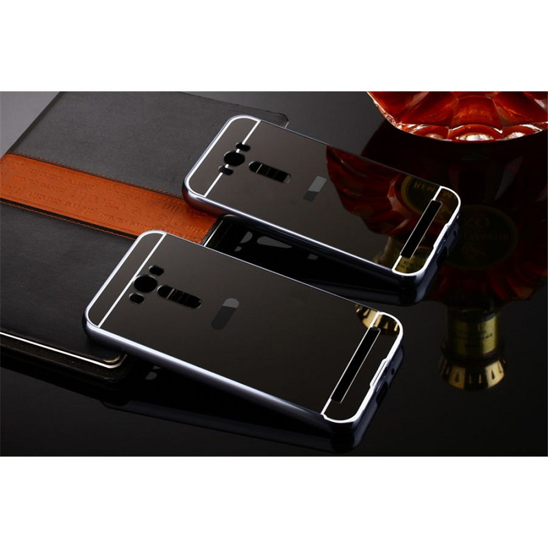 Aluminium Bumper with Mirror Back Cover for Asus Zenfone 2 Laser 5.5 Inch - Black
