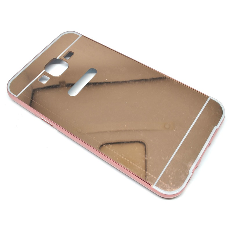 Aluminium Bumper Hardcase with Mirror Back Cover for Samsung Galaxy J7 2015 - Rose Gold