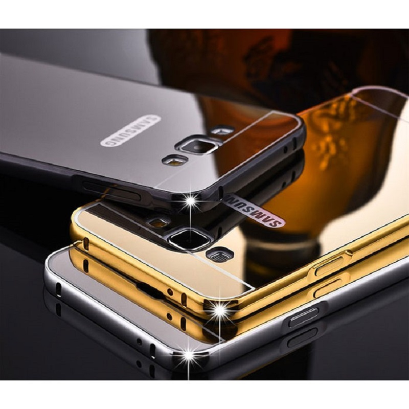 Aluminium Bumper Hardcase with Mirror Back Cover for Samsung Galaxy S7 Edge - Black