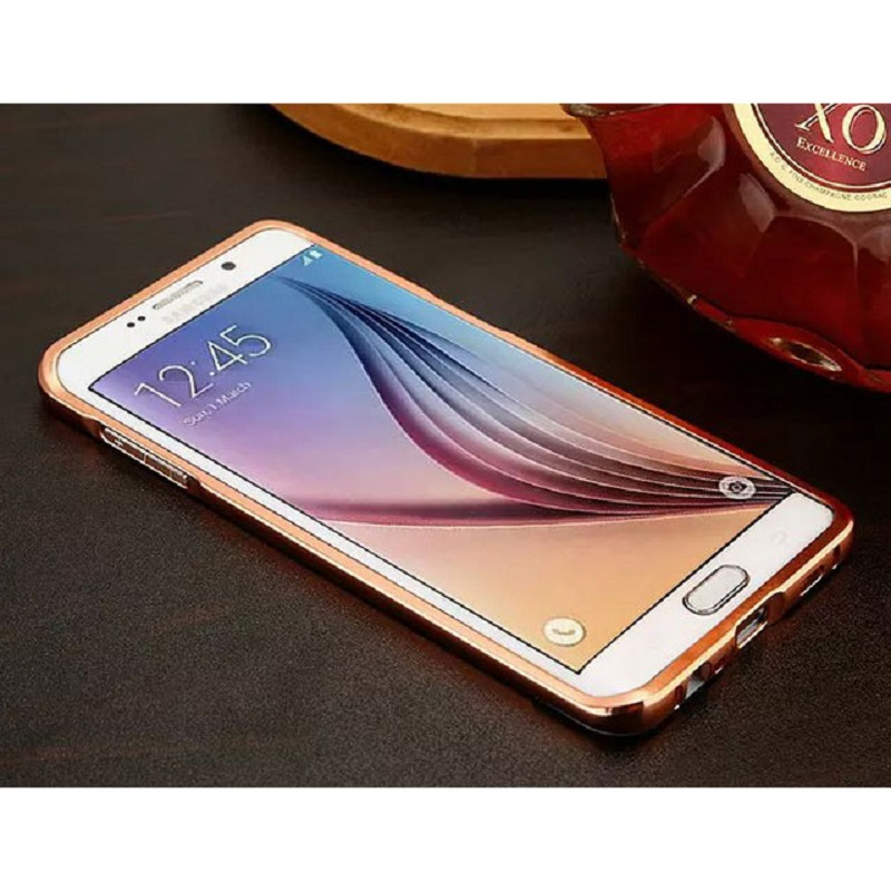 Aluminium Bumper Hardcase with Mirror Back Cover for Samsung Galaxy S7 Edge - Rose Gold