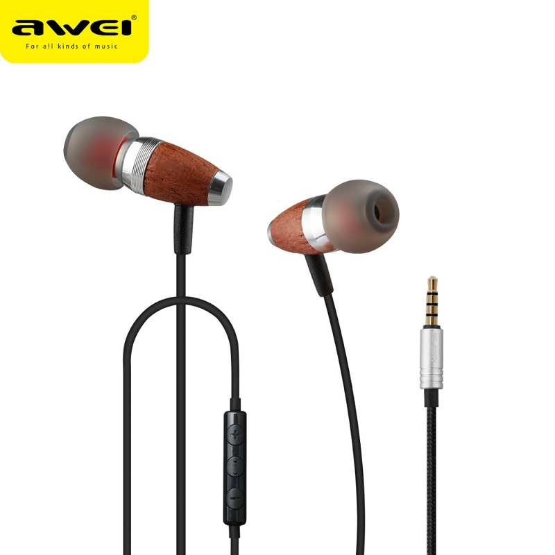 Awei Earphone Wooden Dynamic with Mic - ES-60TY - Blue