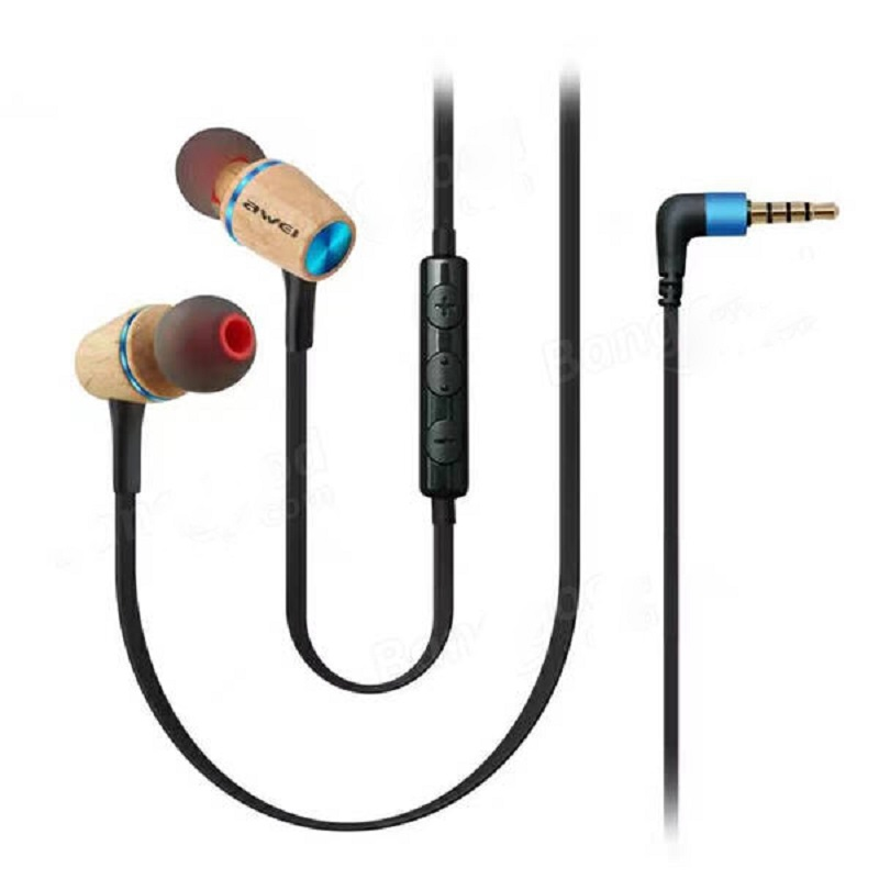 Awei Earphone Wooden Dynamic with Mic - ES-80TY - Red