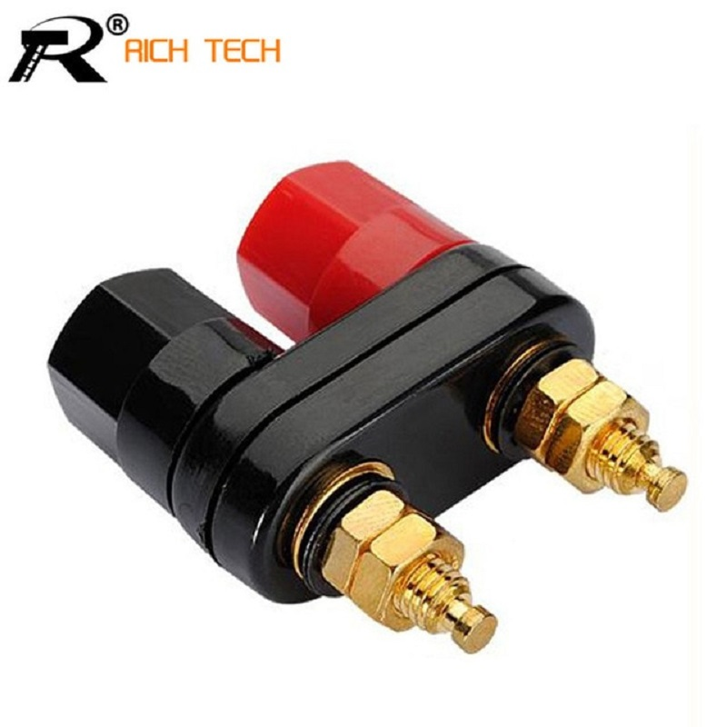 Rich Tech Banana Plugs Couple Terminals Red Black Connector Amplifier - RTC6002160 - Black/Red